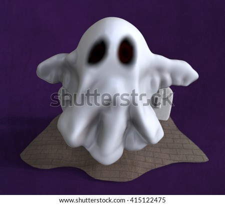 3D cartoon ghost come out from tomb
