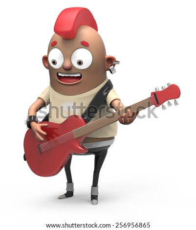 3d Cartoon Guitarist - stock photo
