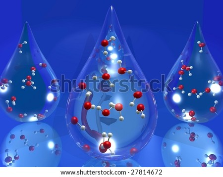 3D cartoon illustrating a drop of water with molecules inside - stock photo
