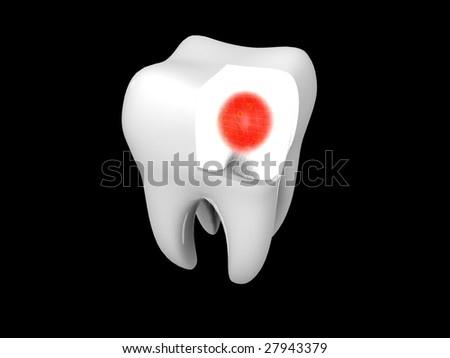 3D cartoon illustrating toothache with a red halo - stock photo