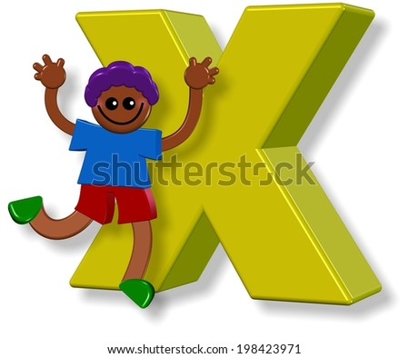 3d cartoon illustration of a happy little boy standing next to a giant letter X.