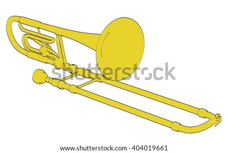 2d cartoon illustration of bass trombone
