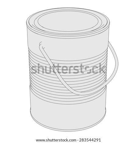 2d cartoon image of painting can - stock photo