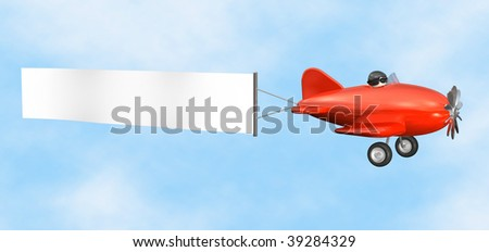 3D cartoon like old fashioned red airplane with empty banner