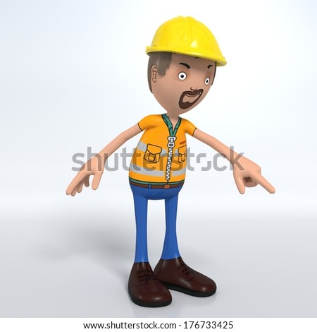 3D Cartoon male worker on white background pointing  - stock photo