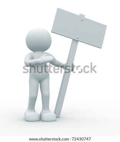 3d cartoon man with blank board sign - 3d render illustration - stock photo