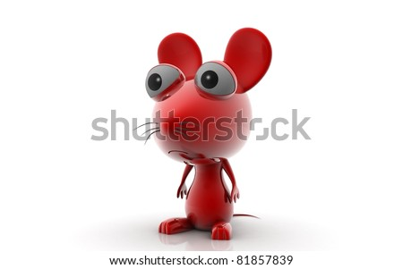 3D Cartoon Mouse on white background - stock photo