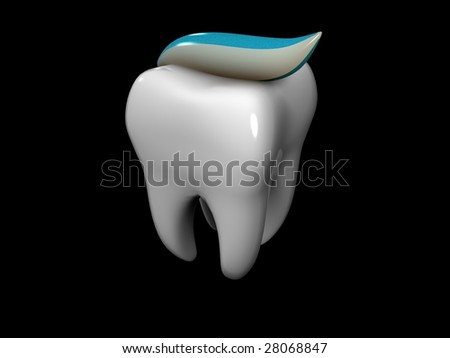 3D cartoon of a tooth covered with toothpaste - stock photo