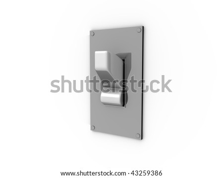 3D cartoon of a white light switch on a metal plate - stock photo