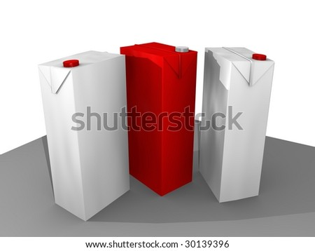3D cartoon of 3 cartons in white and red - stock photo