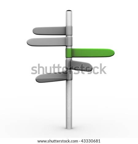 3D cartoon of road sign on a white background, green giving the right direction - stock photo