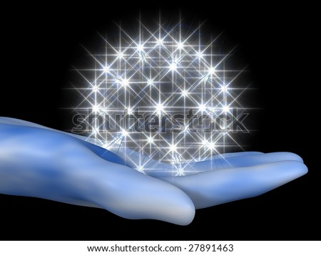 3D cartoon representing a hand with a halo of stars - stock photo