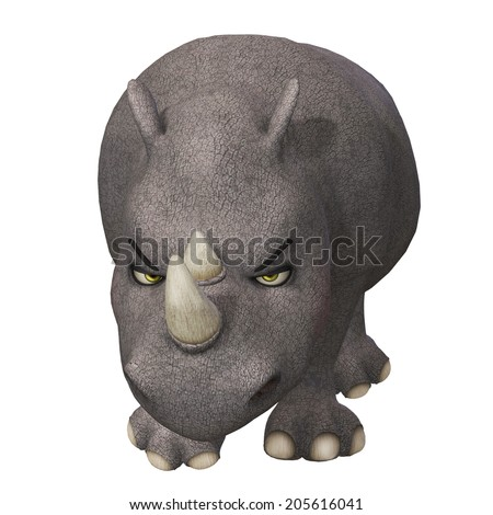 3d cartoon rhino - stock photo