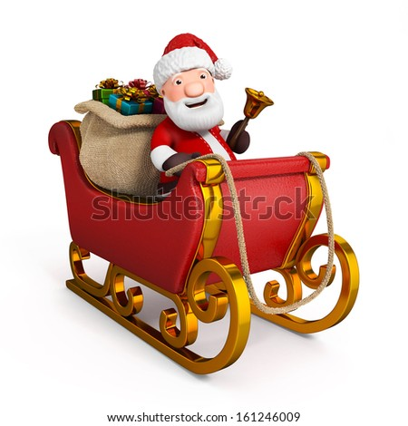 3d cartoon santa claus in sleigh with sack - stock photo