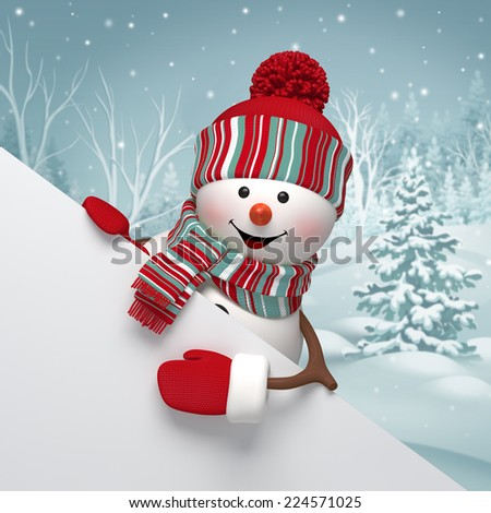 3d cartoon snowman holding white banner, winter background, Christmas greeting card - stock photo