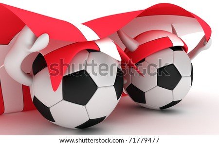 3D cartoon Soccer Ball characters with a Denmark  flag.