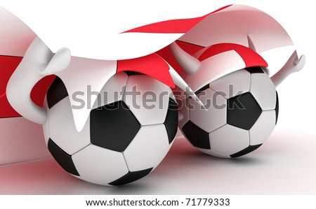 3D cartoon Soccer Ball characters with a England flag.
