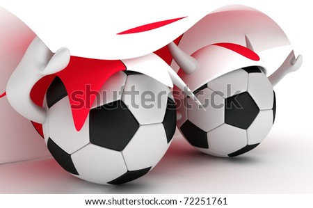 3D cartoon Soccer Ball characters with a Japan flag.