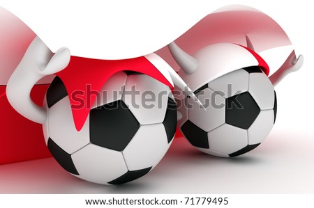 3D cartoon Soccer Ball characters with a Poland flag.