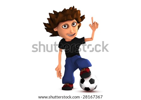 3D cartoon soccer boy - stock photo