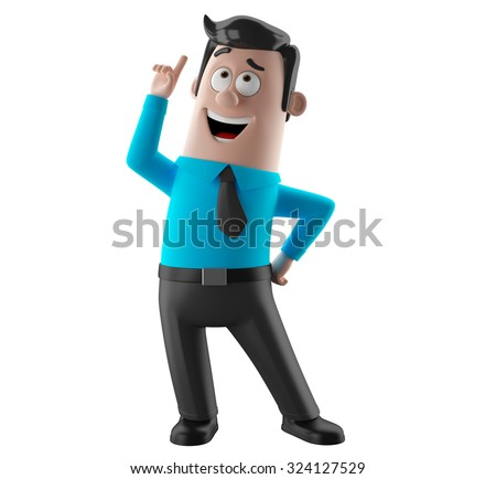 3D cartoon styled illustration of simple merry funny man in a suit and tie, blue shirt, isolated cut out without background, hand pointing at empty space for advertising - stock photo