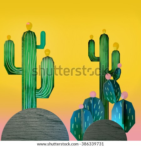 3d cartoon stylized decorations. Mexican theme.  Flat hills with cactuses . Wooden theatrical scenery style, or layered as pop-up books. Vivid yellow background. - stock photo