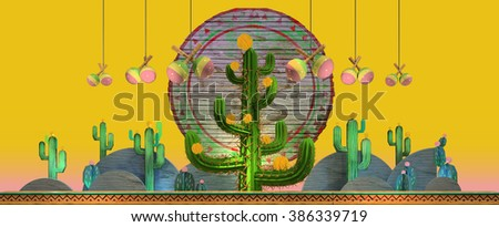 3d cartoon stylized decorations. Mexican theme. Large 3d cactus in the middle and flat hills on the sides and maracas hanging from the top . Wooden theatrical scenery style. Vivid yellow background. - stock photo