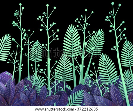 3d cartoon stylized thick jungle foliage on black background