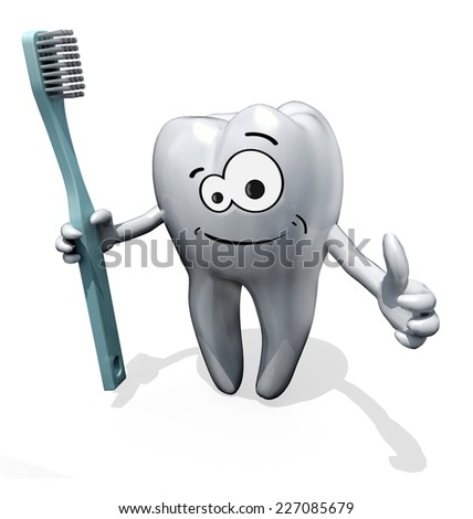 3d cartoon tooth holding a toothbrush isolate on white background - stock photo
