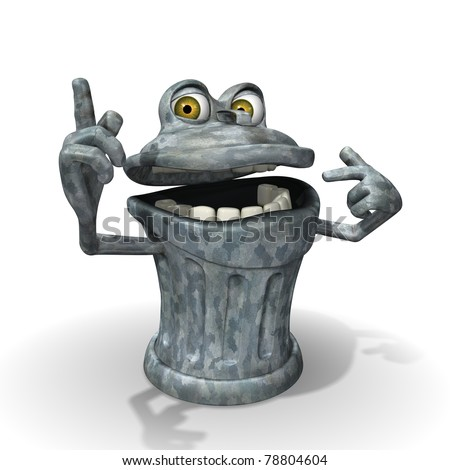 3d Cartoon trash can character pointing - stock photo
