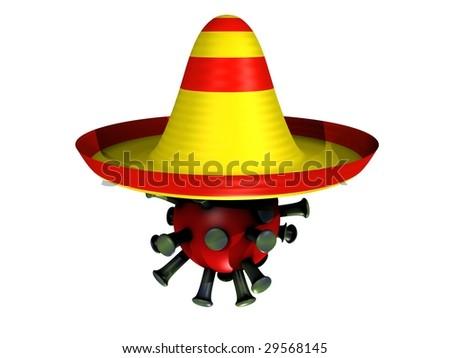 3D cartoon with a influenza virus and a sombrero - stock photo