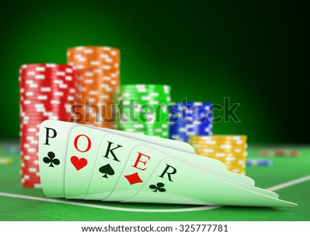 3d casino. Poker table with cards and chips. Realistic render - stock photo