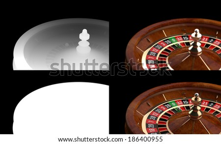 3D Casino Roulette with Alpha channel and Z-Depth - stock photo