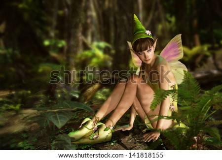 3d CG graphics jungle scene with charming fairy - stock photo