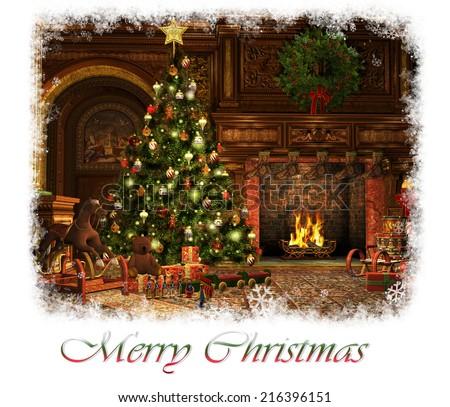 3d CG graphics of a living room on Christmas Eve - stock photo