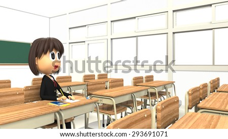 3D-CG image of a Female student sitting in the classroom