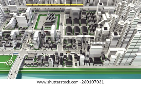 3D-CG image of bird's-eye viewing city - stock photo