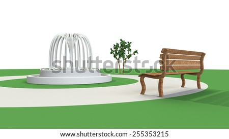 3D-CG image of fountain and bench - stock photo