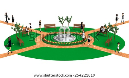 3D CG of People in the park - stock photo