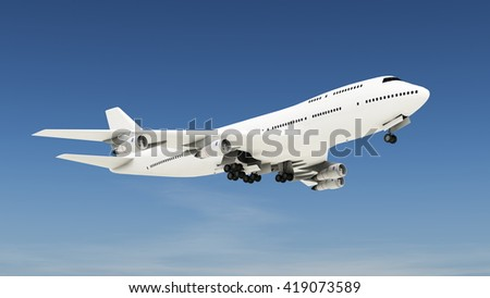 3D CG rendering of a airplane - stock photo