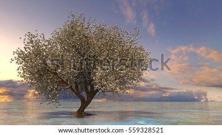 3D CG rendering of a cherry tree