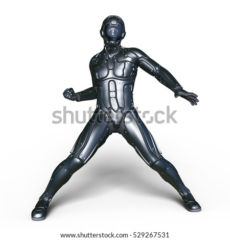 3D CG rendering of a cyborg