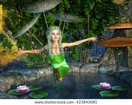 3D CG rendering of a fairy