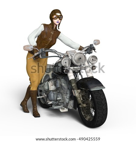 3D CG rendering of a female rider