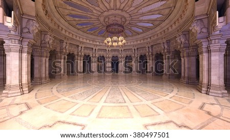 3D CG rendering of a grand hall - stock photo