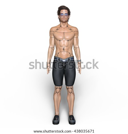 3D CG rendering of a male robot - stock photo