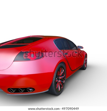 3D CG rendering of a red car