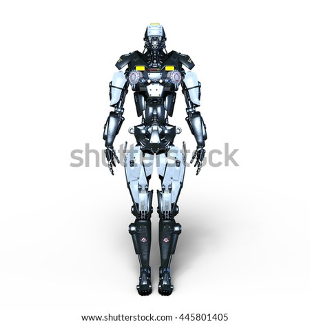 3D CG rendering of a robot police - stock photo