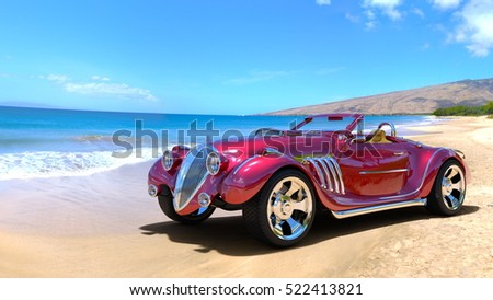 3D CG rendering of a sports car