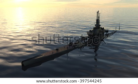 3D CG rendering of a submarine - stock photo